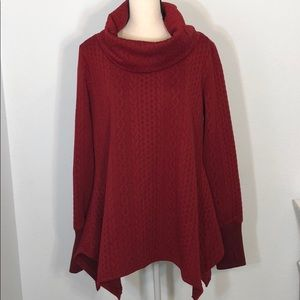 Suzanne Betro Sweater Texture Red Cowl Neck Tunic